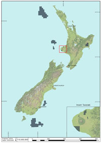 New Zealand's Block Offer 2013 map of permit locations